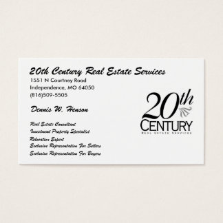 20th century logo (4), 20th Century Real Estate... Business Card