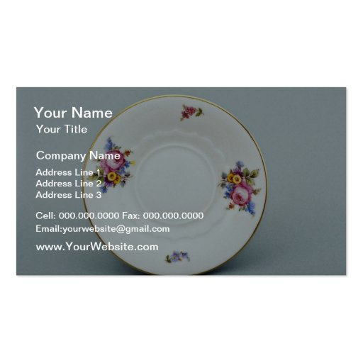 20th century saucer, Rosenthal, Germany  flowers Business Card Template
