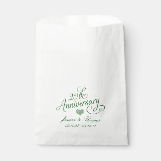 20th Emerald Wedding Anniversary Favor Bag Favour Bags