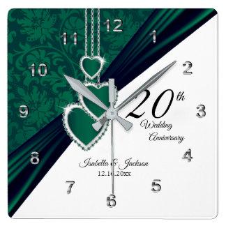 20th Emerald Wedding Anniversary Keepsake Square Wall Clock
