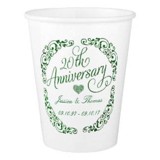 20th Emerald Wedding Anniversary Paper Cup
