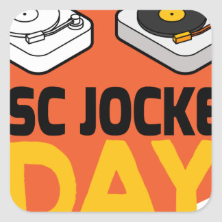 20th January - Disc Jockey Day Square Sticker
