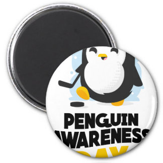 20th January - Penguin Awareness Day 6 Cm Round Magnet