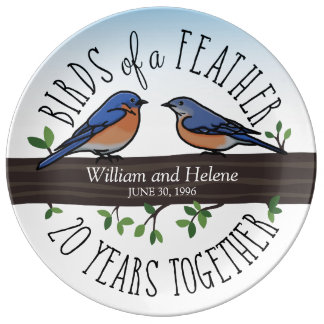 20th Wedding Anniversary, Bluebirds of a Feather Porcelain Plates
