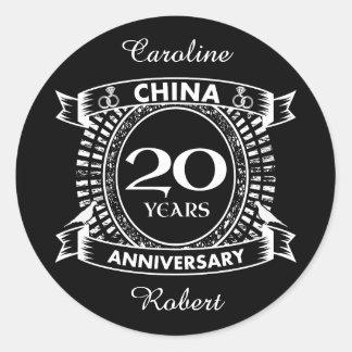 20TH wedding anniversary china Classic Round Sticker