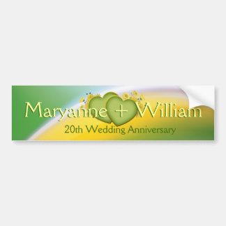 20th Wedding Anniversary Party Decoration Car Bumper Sticker