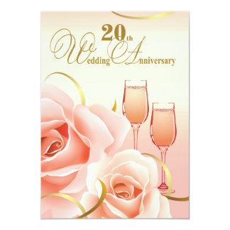 "20th Wedding Anniversary Party Invitations 5"" X 7"" Invitation Card"