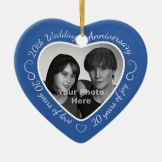 20th Wedding Anniversary Photo Ceramic Heart Decoration