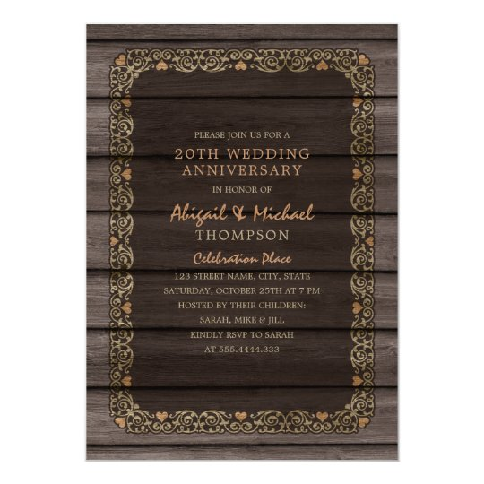 20th Wedding Anniversary Rustic Wood Country Party Card