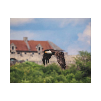 20x16 Bald Eagle passing Fort Ticonderoga Canvas Print