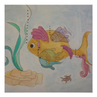 20x20 poster paper semi gloss with abstract fish