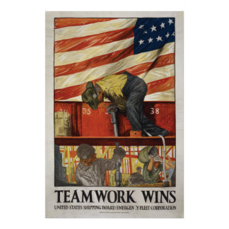 20x30 Teamwork Wins, WWI motivational poster