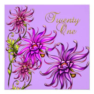 21 21st Birthday Elegant White Floral Pink Purple 13 Cm X 13 Cm Square Invitation Card