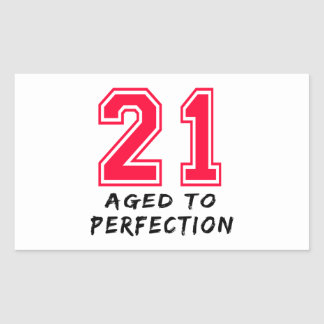 21 Aged To Perfection Birthday Design Rectangle Stickers