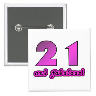 21 And Fabulous Birthday 15 Cm Square Badge