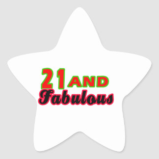 21 and Fabulous Birthday Designs Star Sticker