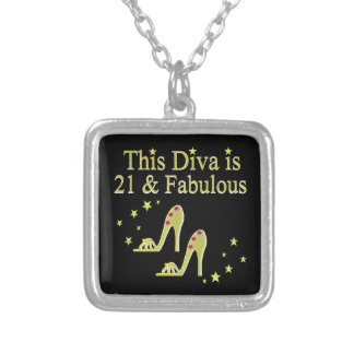 21 AND FABULOUS GOLD SHOE QUEEN DESIGN SILVER PLATED NECKLACE