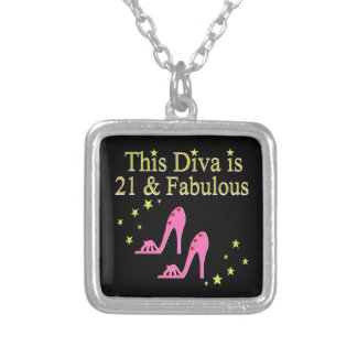 21 AND FABULOUS PINK SHOE QUEEN DESIGN SILVER PLATED NECKLACE