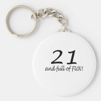 21 And Full Of Fun (Blk) Basic Round Button Key Ring