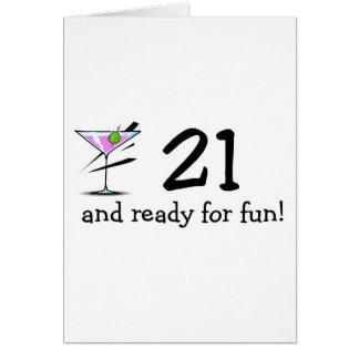 21 And Ready For Fun Martini Card