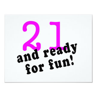 21 And Ready For Fun Pink 11 Cm X 14 Cm Invitation Card