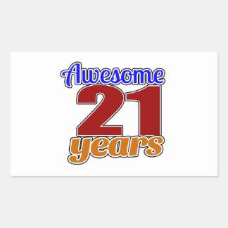 21 Awesome Birthday Rectangular Sticker