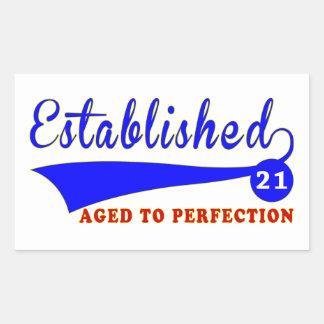 21 Birthday Aged To Perfection Rectangular Sticker