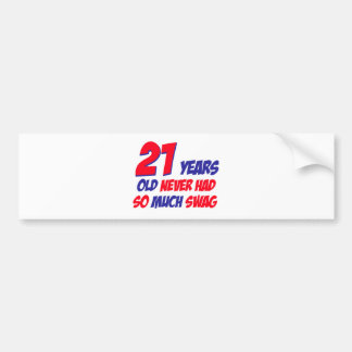 21 birthday design bumper sticker