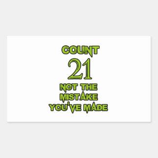 21 birthday design rectangular sticker