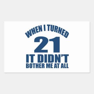 21 Birthday Designs Rectangular Sticker