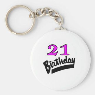 21 Birthday Pink And Black Basic Round Button Key Ring