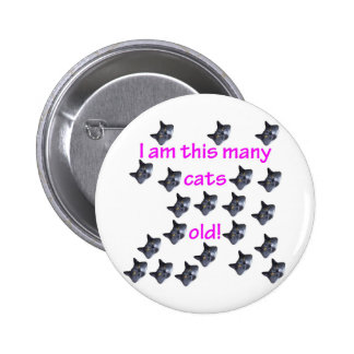 21 Cat Heads Old 6 Cm Round Badge
