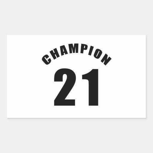 21 champion designs rectangle sticker