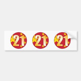 21 CHINA Gold Bumper Sticker