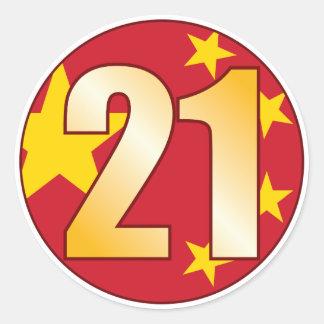 21 CHINA Gold Classic Round Sticker