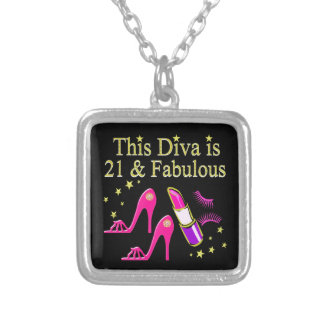 21 & FABULOUS PINK SHOE AND LIPSTICK DIVA DESIGN SILVER PLATED NECKLACE