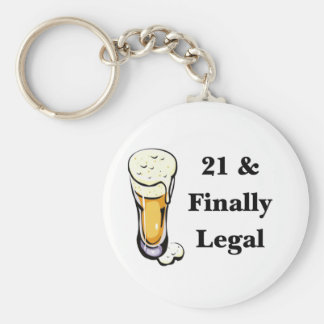 21 & Finally Legal Basic Round Button Key Ring