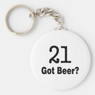 21 Got Beer Basic Round Button Key Ring