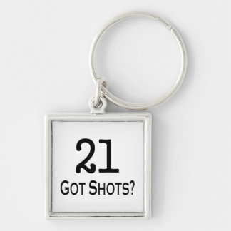 21 Got Shots Silver-Colored Square Key Ring