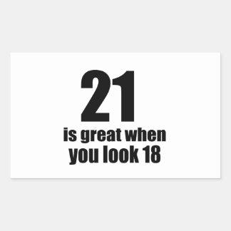 21 Is Great When You Look Birthday Rectangular Sticker