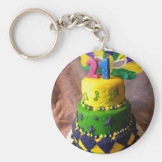 21 Mardi Gras Cake Basic Round Button Key Ring