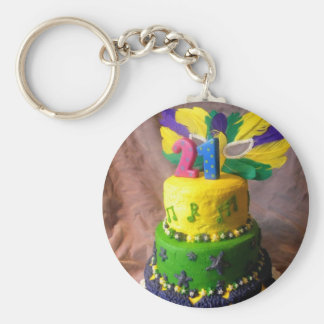 21 Mardi Gras Cake Basic Round Button Key Ring