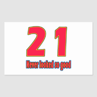 21 never looked so good birthday designs rectangle sticker