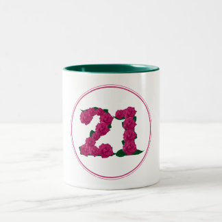 21 Number 21st Birthday Anniversary cute pink mug