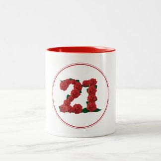 21 Number 21st Birthday Anniversary red mug