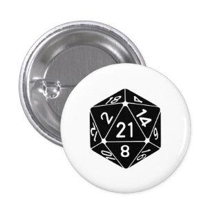 21 Sided 21st Birthday D20 Fantasy Gamer Die 3 Cm Round Badge