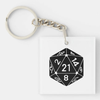 21 Sided 21st Birthday D20 Fantasy Gamer Die Double-Sided Square Acrylic Key Ring