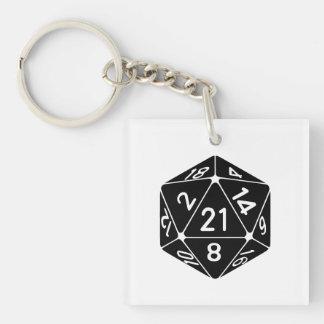 21 Sided 21st Birthday D20 Fantasy Gamer Die Acrylic Keychains