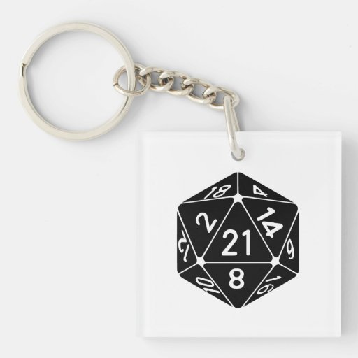 21 Sided 21st Birthday D20 Fantasy Gamer Die Acrylic Keychains