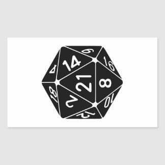 21 Sided 21st Birthday D20 Fantasy Gamer Die Rectangular Sticker